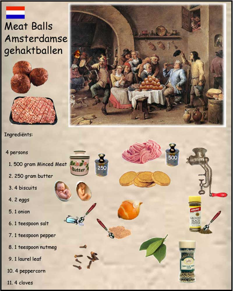 Cook Book old dutch, Meat Balls